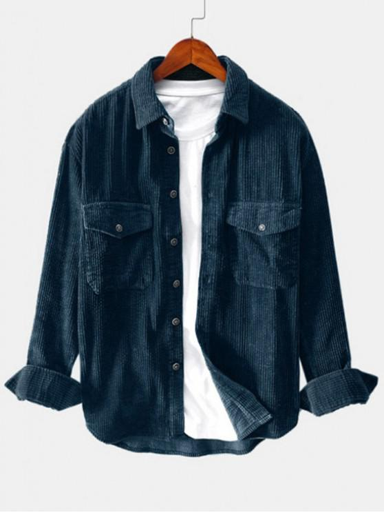 affordable Solid Color Pocket Decoration Button Shirt - MARBLE BLUE 3XL