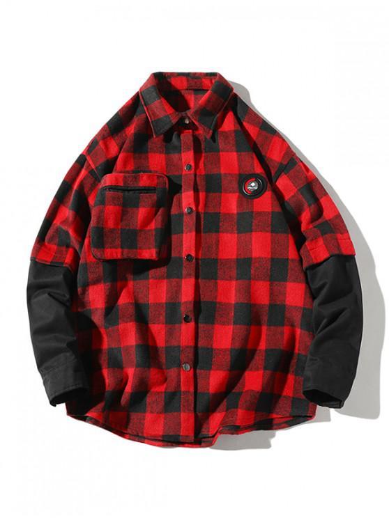buy Plaid Faux Twinset Long Sleeve Shirt - RED XL