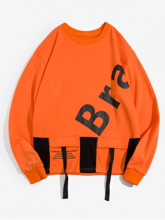 chic Graphic Letter Print Casual Sweatshirt - ORANGE 2XL