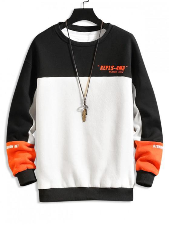 shop Letter Print Colorblock Panel Fleece Sweatshirt - BLACK S