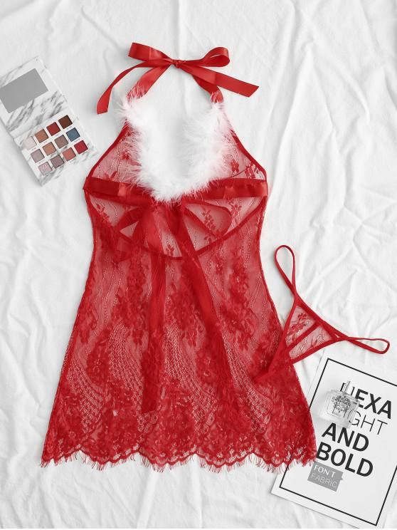 outfits Christmas Feather Halter Flower Lace Lingerie Babydoll - RED XL
