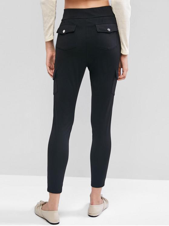 women's ZAFUL High Waist Pockets Solid Leggings - BLACK M