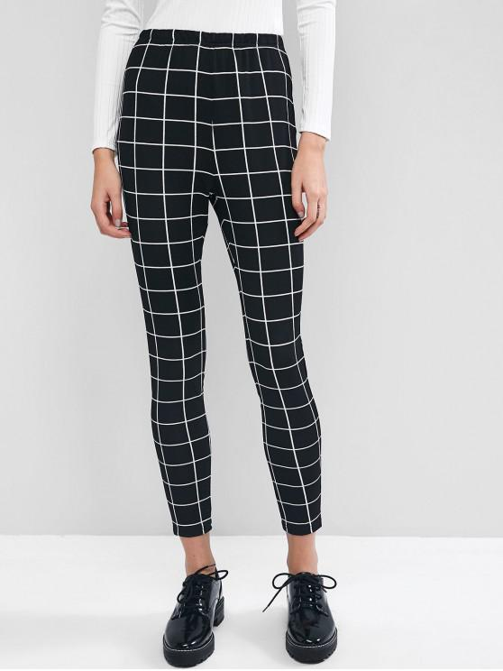 ladies ZAFUL Windowpane Checked Skinny Leggings - BLACK S