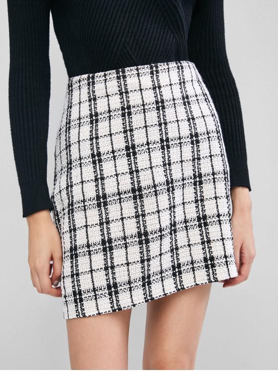 fancy ZAFUL Plaid Tweed Skirt - WHITE S