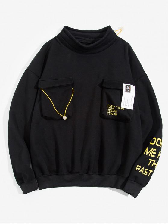fashion Letter Print Pocket Design Casual Sweatshirt - BLACK 2XL