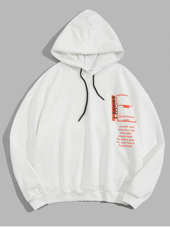 outfit Graphic Letter Print Drawstring Hoodie - WHITE M