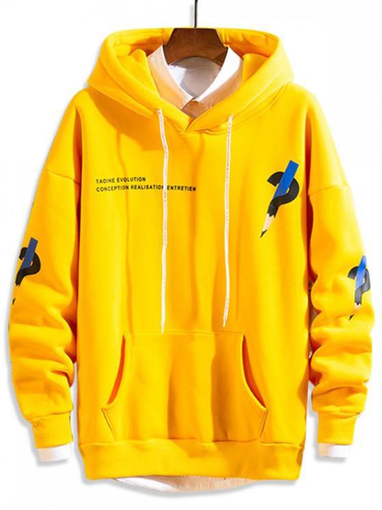 new Letter Graphic Printed Fleece Drop Shoulder Hoodie - YELLOW L