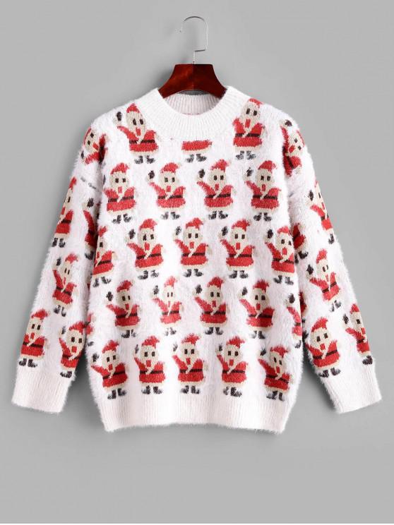 latest Fuzzy Intarsia Knit Christmas Santa Claus Graphic Sweater - WHITE L