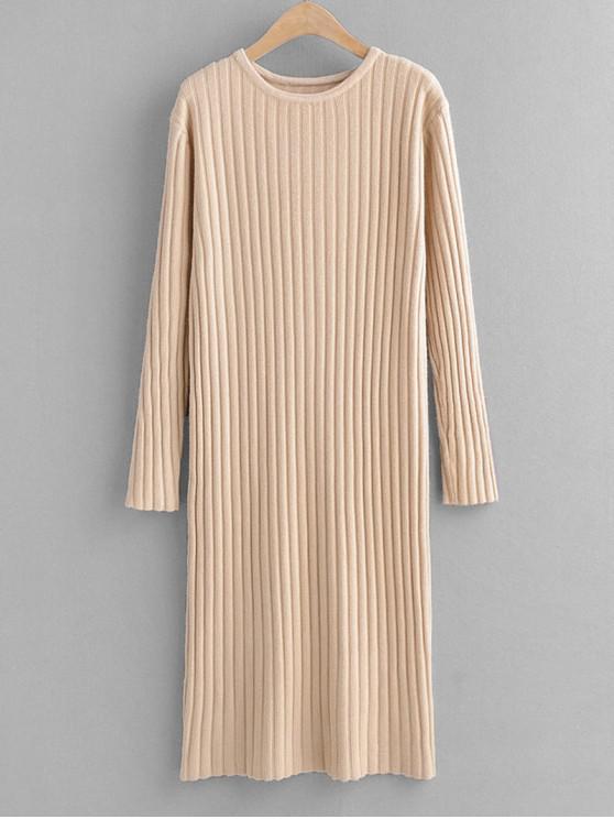 Rundhalsausschnitt Langarm Pullover Freizeitkleid - Tan Eine Größe