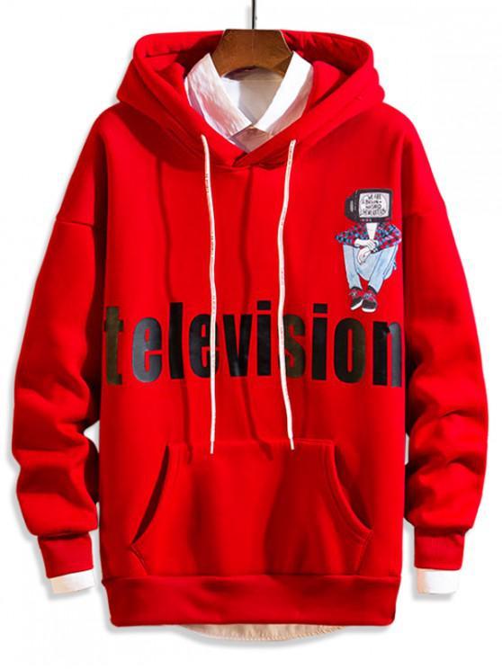 shop Television Letter Character Print Fleece Drop Shoulder Hoodie - RED S