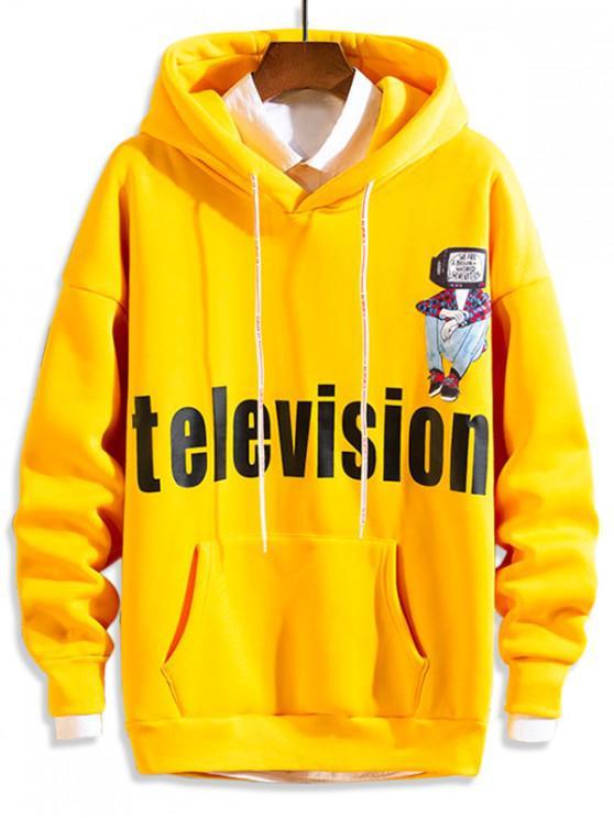 online Television Letter Character Print Fleece Drop Shoulder Hoodie - YELLOW M