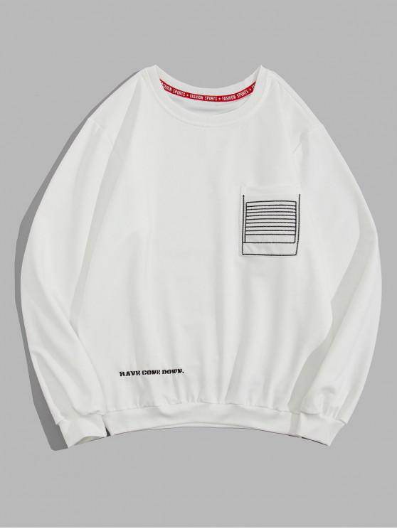shop Graphic Letter Embroidered Sweatshirt - WHITE M