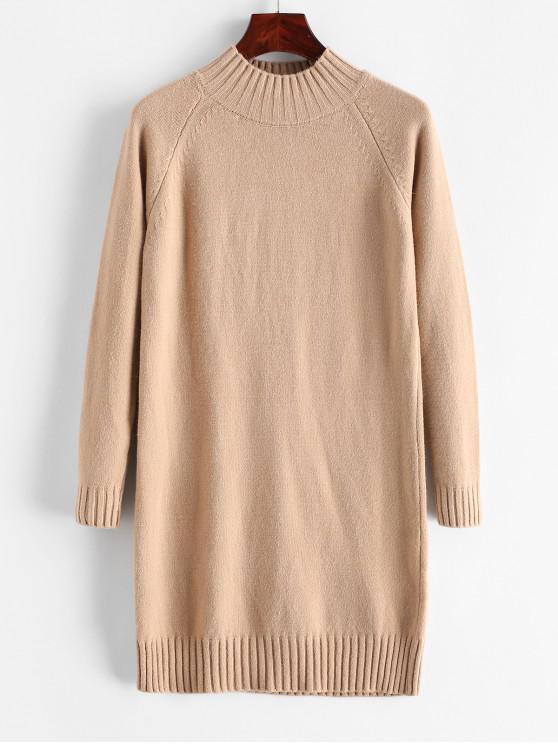 best Mock Neck Raglan Sleeve Mini Sweater Dress - KHAKI ONE SIZE