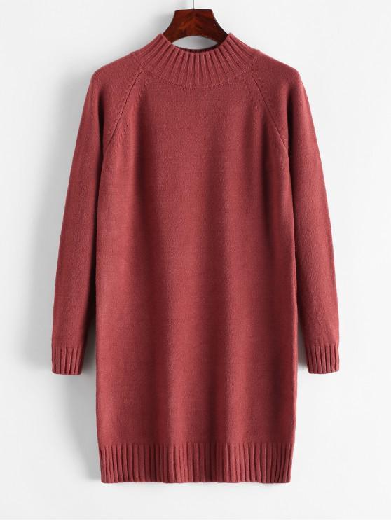 online Mock Neck Raglan Sleeve Mini Sweater Dress - CHERRY RED ONE SIZE