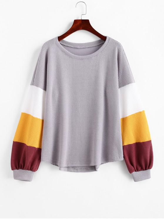 buy Colorblock Lantern Sleeves Curved Hem Knitwear - GRAY XL