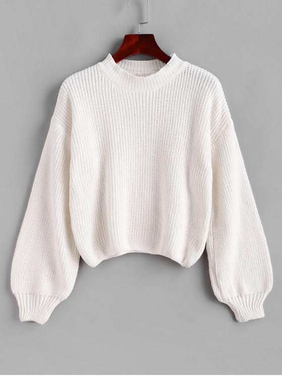 women Lantern Sleeves Chenille Knit Crop Sweater - WHITE S