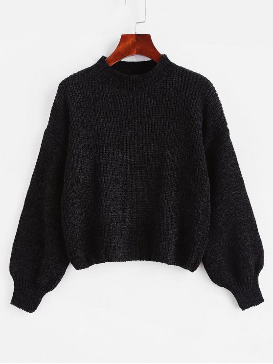 fashion Lantern Sleeves Chenille Knit Crop Sweater - BLACK XL