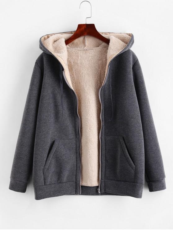 chic Zip Up Drawstring Hooded Shearling Coat - GRAY L