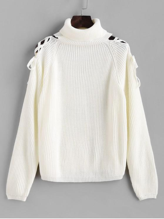 sale Turtleneck Lace Up Cold Shoulder Sweater - WHITE L