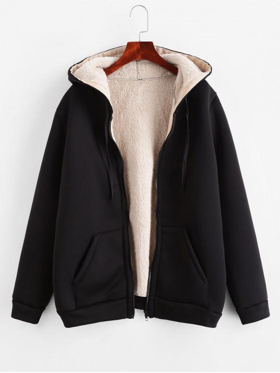 women Zip Up Drawstring Hooded Shearling Coat - BLACK L