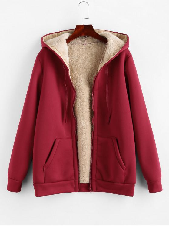 outfit Zip Up Drawstring Hooded Shearling Coat - RED WINE L