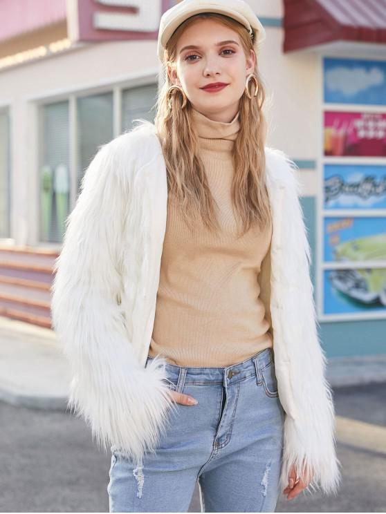 best Faux Fur Shaggy Style Plush Fluffy Coat - WHITE XS