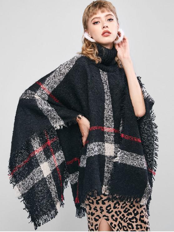 online Plaid Frayed Turtleneck Poncho Sweater - BLACK ONE SIZE