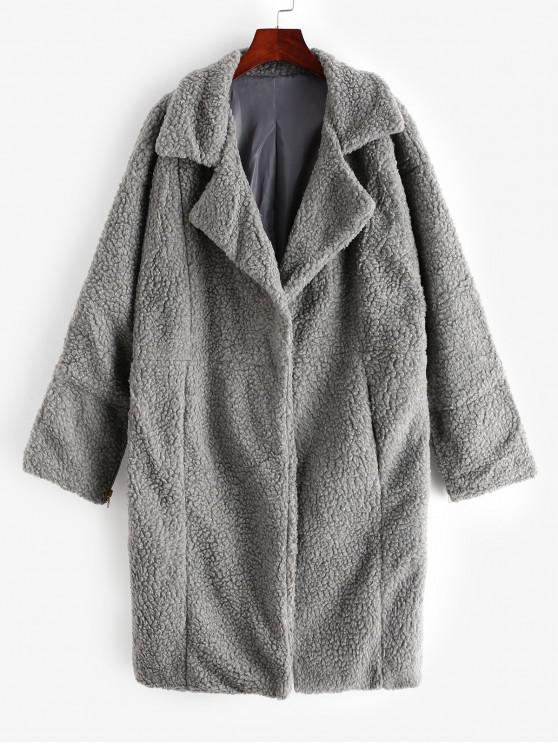 Manteau Long Zippé Fendu au Dos - Gris L