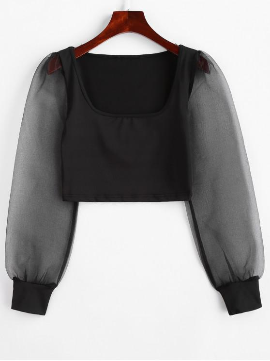 shop Organza Sleeve Scoop Neck Crop T-shirt - BLACK S