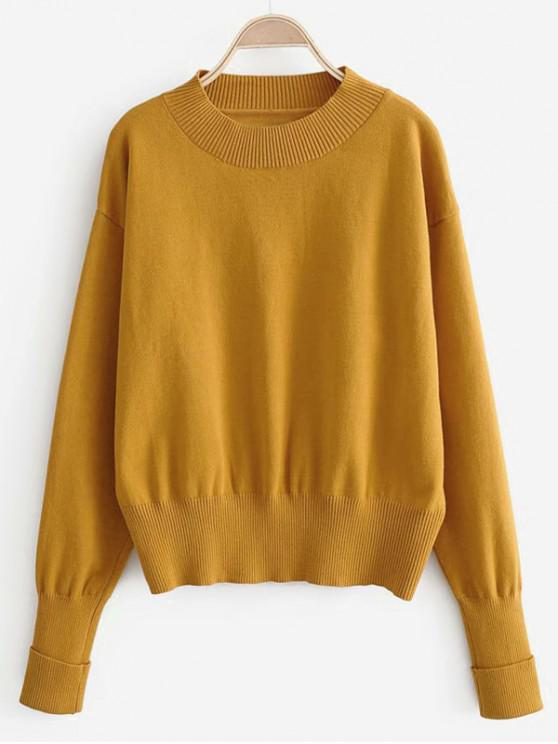 fancy Solid Crew Neck Cuffed Sleeve Jumper Sweater - YELLOW S