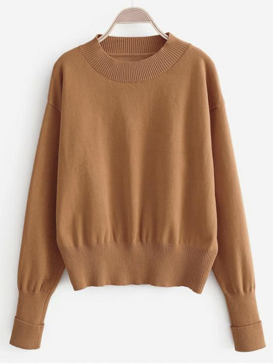 affordable Solid Crew Neck Cuffed Sleeve Jumper Sweater - TIGER ORANGE S