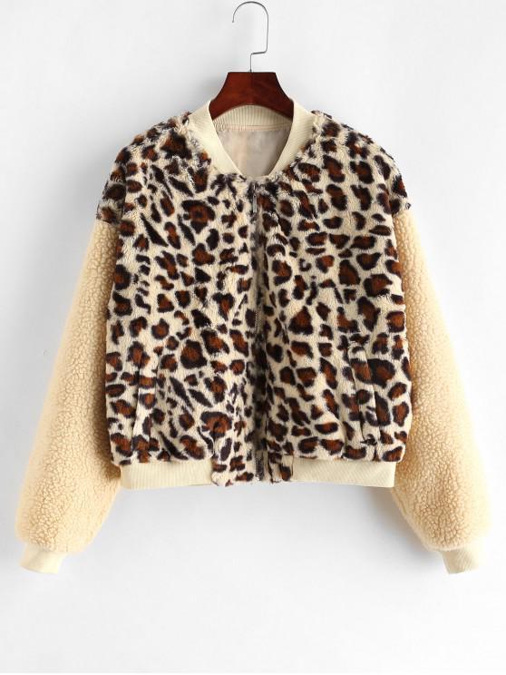 trendy ZAFUL Faux Fur Leopard Fluffy Zip Teddy Coat - MULTI-A S