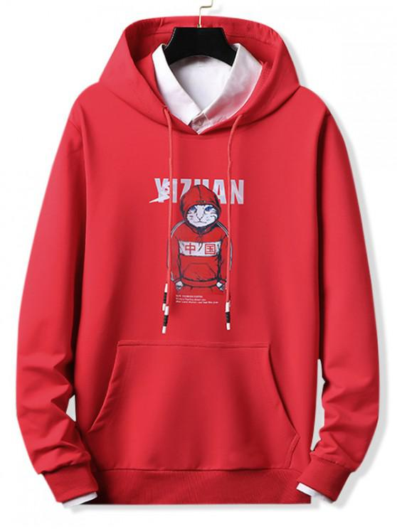 online Cool Cat Letter Graphic Print Drawstring Hoodie - RED XL