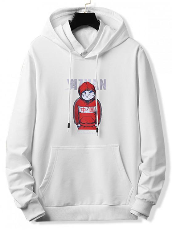 women Cool Cat Letter Graphic Print Drawstring Hoodie - WHITE M