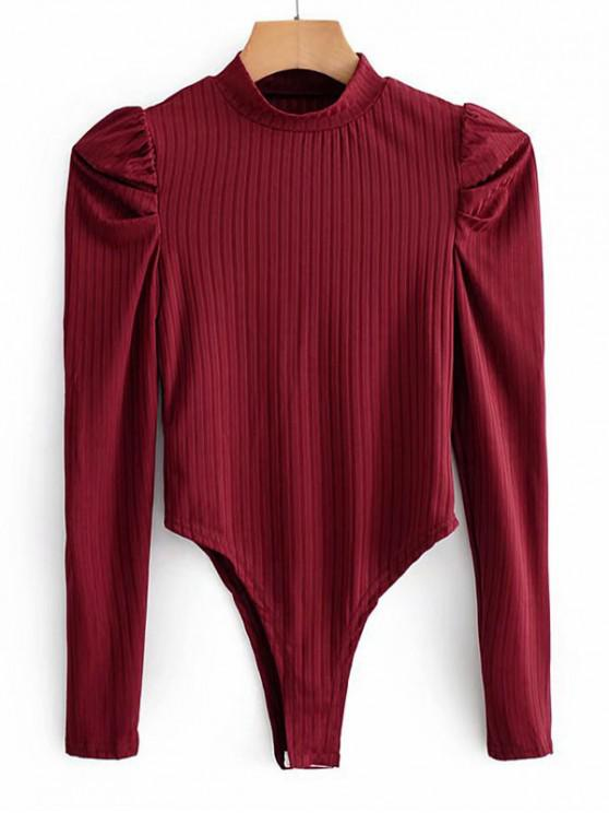 unique Mock Neck Ribbed Puff Sleeve Bodysuit - RED M