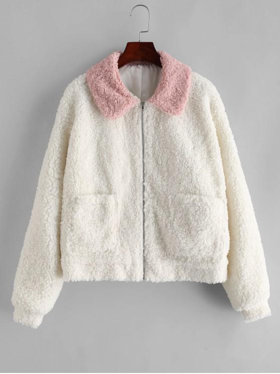 ZAFUL Manteau Teddy Fourré Zippé Bicolore avec Poche - Blanc M