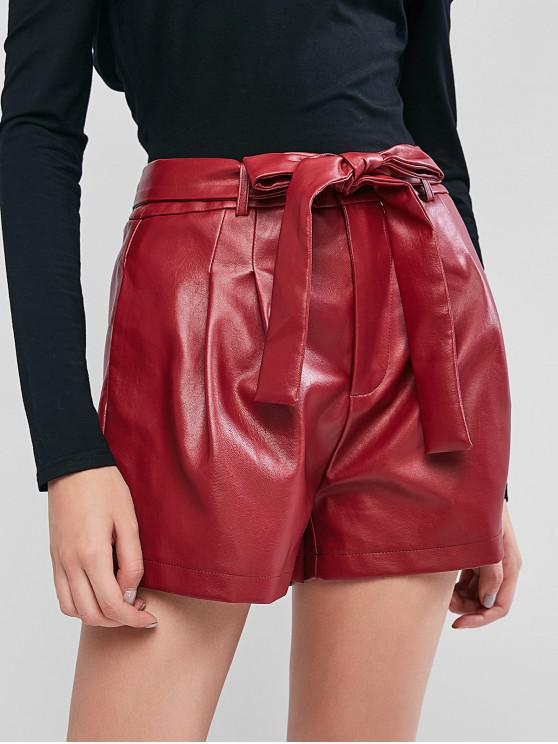 ZAFUL Zipper Fly Faux Leather Belted Shorts - Vinho Tinto M