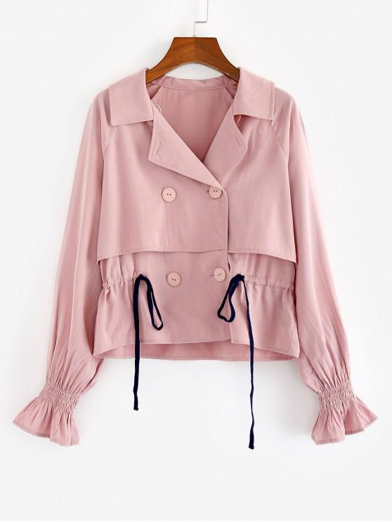 buy ZAFUL Lapel Raglan Sleeve Drawstring Waist Trench Coat - PINK ROSE XL