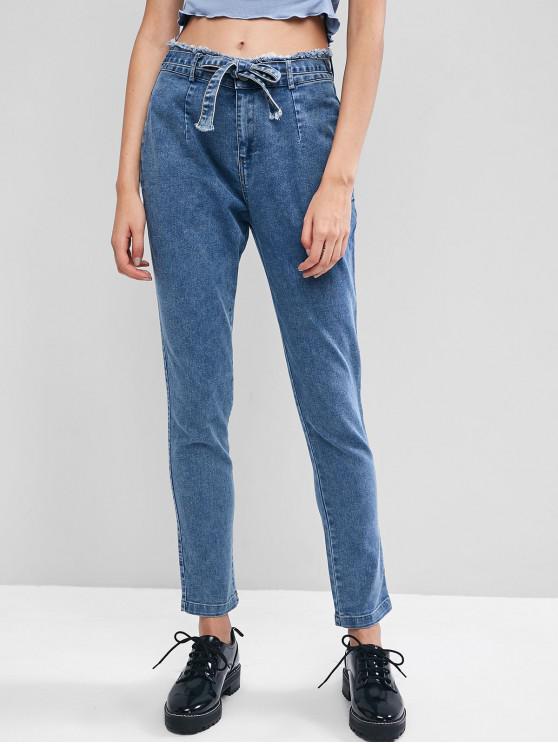 affordable Frayed Pocket Tie Pencil Jeans - DENIM BLUE S