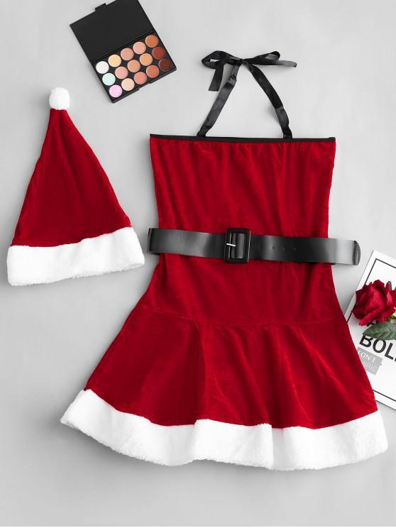 Costume de Noël Cosplay Ceinturé en Velours à Col en Fausse Fourrure - Rouge Taille Unique