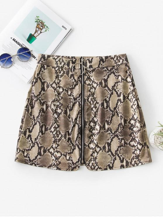 ladies Snakeskin Print Zip Front Mini Skirt - TAN XL