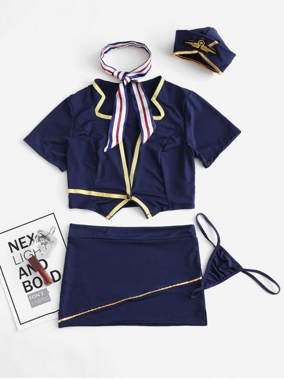 CostumeCosplayHôtesseBadgeJointif - Bleu profond Taille Unique