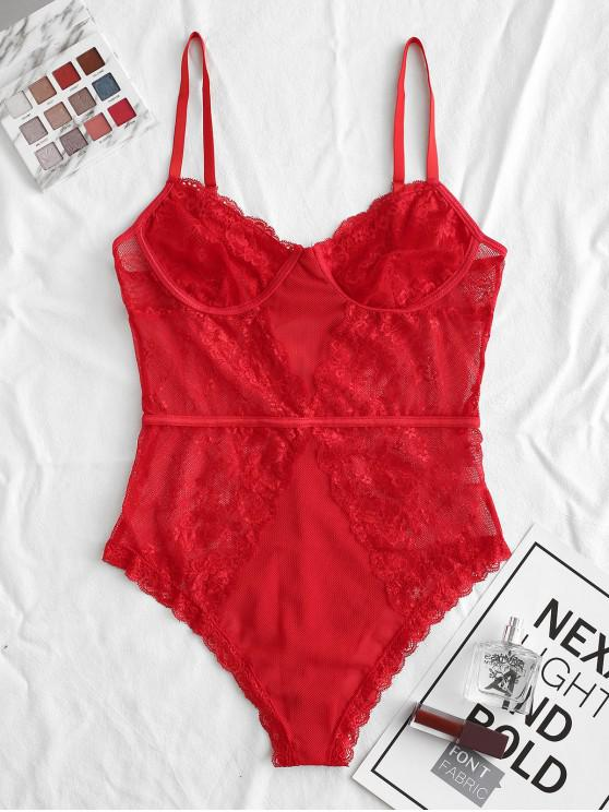 ladies Flower Lace Mesh Cupped Lingerie Teddy - RED M