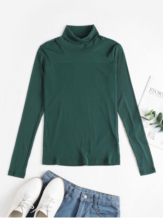 網見直通高領修身T卹 - 綠色 XL