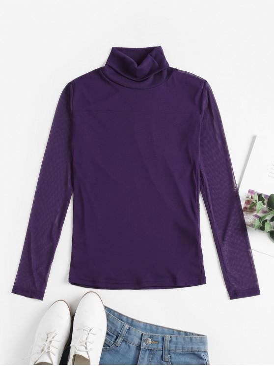 online Mesh See Thru Turtleneck Slim Tee - PURPLE L