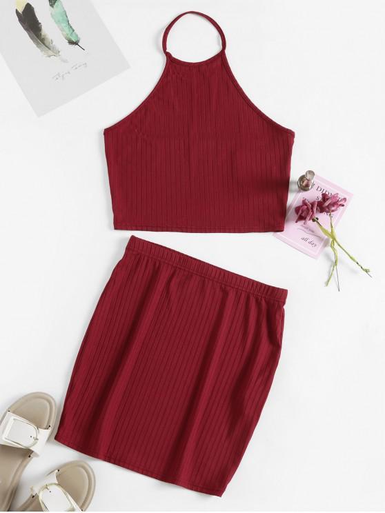 fashion ZAFUL Crop Halter Top and Sheath Skirt Set - RED XL