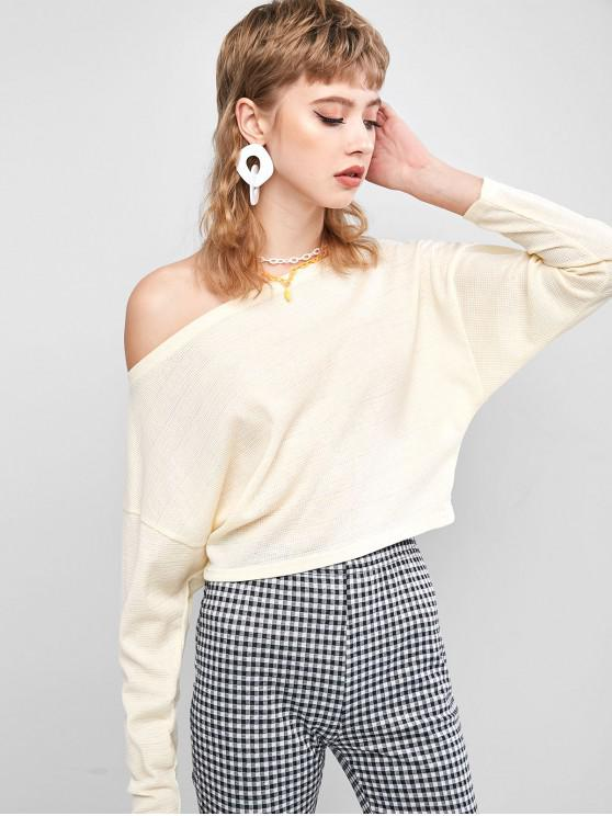 outfits ZAFUL Slash Neck Knit Top - BLANCHED ALMOND L