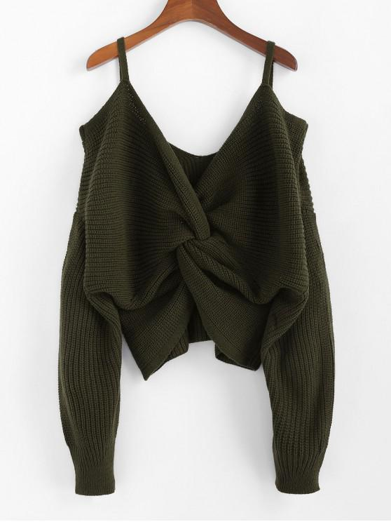 outfit ZAFUL Twisted Cold Shoulder Jumper Sweater - ARMY GREEN M