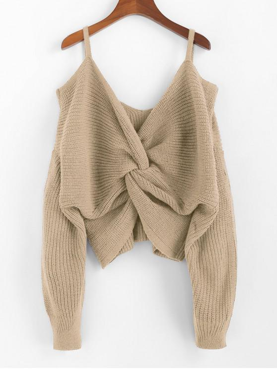 shop ZAFUL Twisted Cold Shoulder Jumper Sweater - KHAKI S