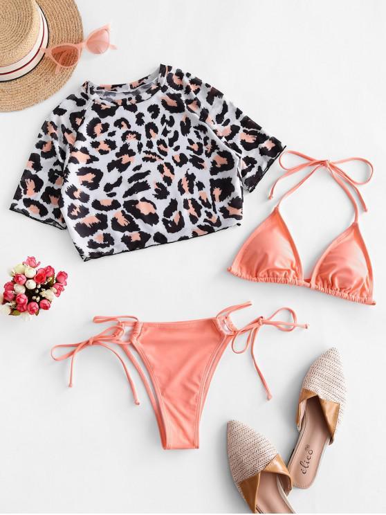 sale ZAFUL Leopard Tie Side Three Piece Swimsuit - LIGHT SALMON M